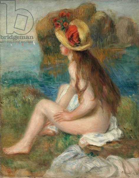 Nude with a Straw Hat Beside the Sea, 1892 (oil on canvas)