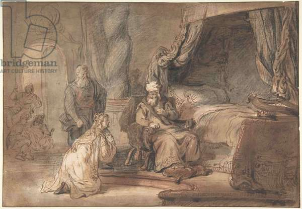 David's Promise to Bathsheba, 1642-43 (pen & brown ink, brown wash, over black & red chalk, with framing line in pen & black ink)