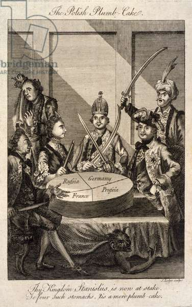 PARTITION OF POLAND, 1772 'The Polish Plumb-cake.' Cartoon about the Partition of Poland in 1772, showing Leopold II of Prussia, Frederick II of Prussia, Catherine II of Russia, Louis XV of France, Stanislaw II of Poland and Abdul Hamid I of Turkey. Engraving by John Lodge, 1774.