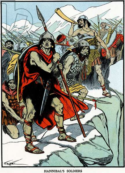 Carthaginian general Hannibal's army crossing the Alps 218 BC to do battle with the Romans. Second Punic War. Early 20th century illustration.