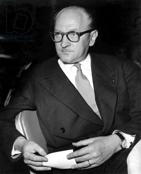 The French politician and trade unionist Guy Mollet (b/w photo)