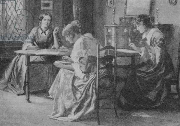 The Bronte sisters writing their stories in the Rectory at Haworth in Yorkshire (litho)
