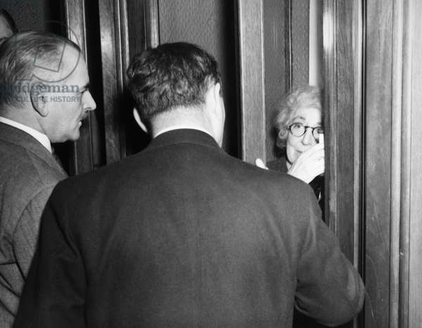 JEANNETTE RANKIN (1880-1973). American suffragist, pacifist, and legislator. Taking refuge in a telephone booth on the way to her office at the Capitol in Washington, D.C., 9 December 1941, one day after casting the only vote against declaring war on Japan during World War II.