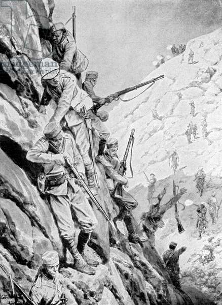 Gurkhas descending a pass under fire
