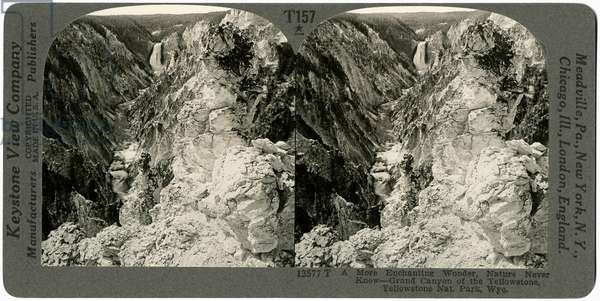 YELLOWSTONE: CANYON The Grand Canyon of the Yellowstone River, Wyoming. Stereograph, early 20th century.