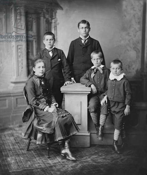 Children of U.S. President James A. Garfield, (l-r), Mary, James, Harry, Irvin, Abram, Full-Length Portrait, Brady-Handy Collection, 1880 (b/w photo)
