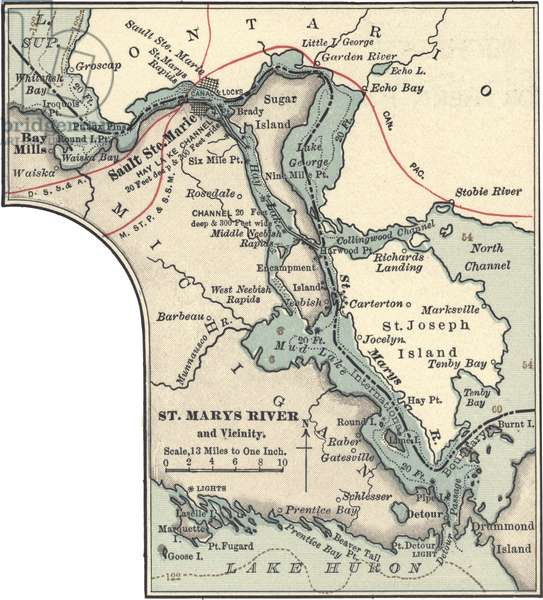 Map of St. Marys River and Sault Ste. Marie, MI