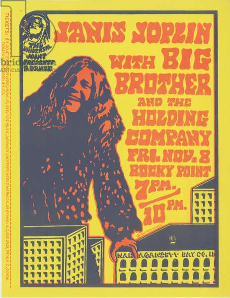 Poster for Janis Joplin with Big Brother and the Holding Company, Rocky Point Amusement Park, Warwick, Rhode Island, Friday, November 8th, 1968 (colour litho)