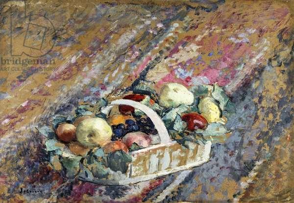 Still Life with a Basket of Fruit; Nature Morte au Panier de Fruits,  (oil on cardboard)