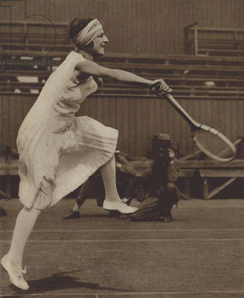 French tennis player Suzanne Lenglen, winner of her first Wimbledon Ladies' Singles title, 1919 (b/w photo)