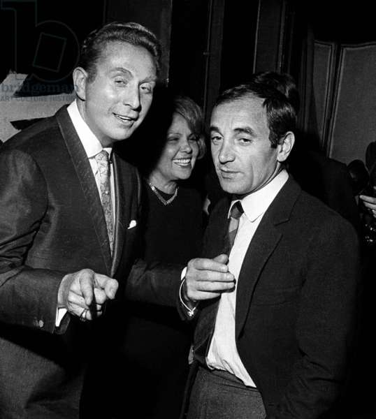 Charles Trenet and Charles Aznavour at show of the clown Dimitri, Paris, 28 May1964 (photo)