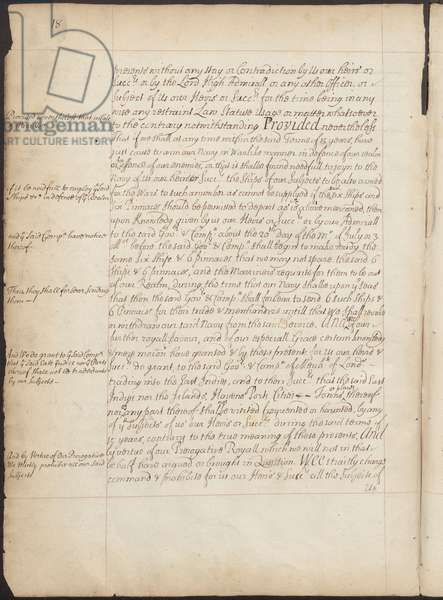 East India Company Charter, Page 18, Copy Letters Patent of Elizabeth I granting to the Earl of Cumberland and 215 others the power to form a corporate body to be called the