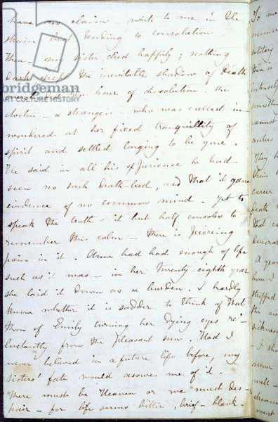 Letter from Charlotte Bronte to W.S. Williams, of Smith, Elder and Co. with an account of the death of her sister, Emily, 13th June 1849 (ink on paper)