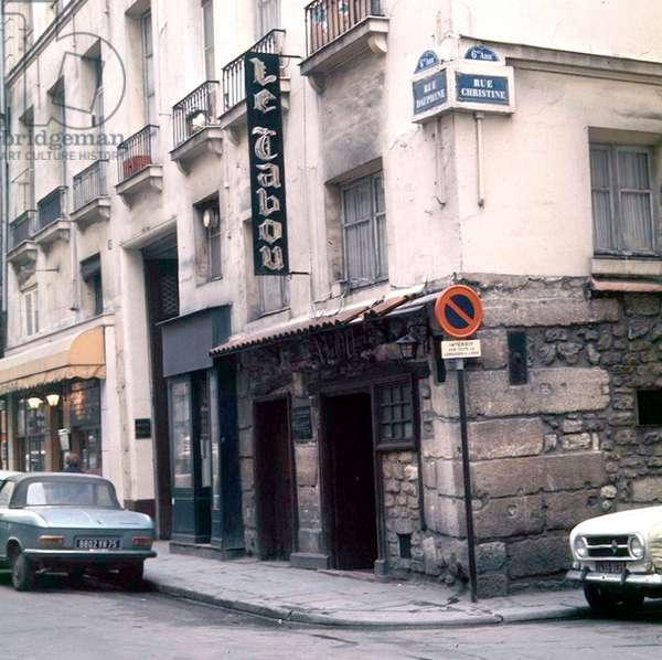 entrance of Le Tabou jazz nightclub in Saint Germain des Pres, Paris, opened in 1947