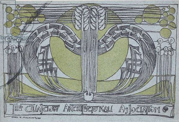 Conversazione Programme for the Glasgow Architectural Association, 1894 (linocut printed in black and green on light blue paper)