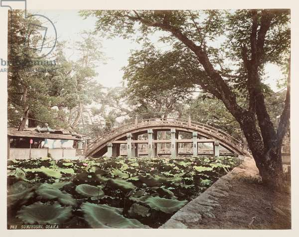 Sumiyoshi, Osaka, from A Book of Coloured Photographs of views in Japan, 1895 (coloured photo)