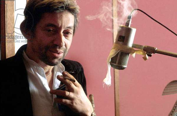 French Singer Serge Gainsbourg during Recording Session C. 1987 (photo)