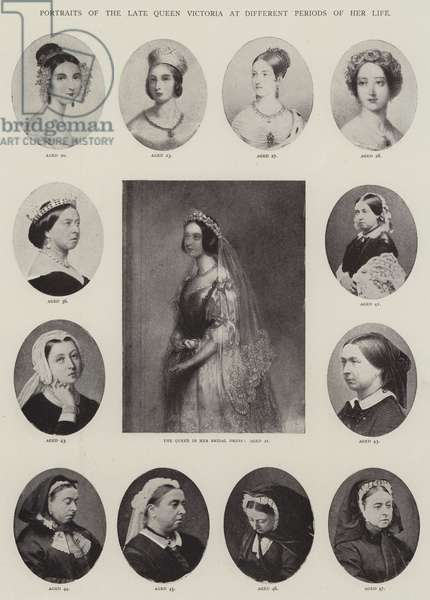 Portraits of the late Queen Victoria at Different Periods of her Life (engraving)