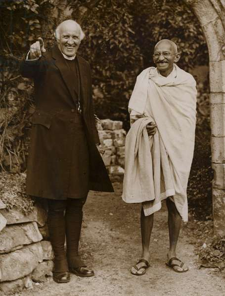 Mahatma Gandhi, Indian leader of the movement for independence from British rule (b/w photo)
