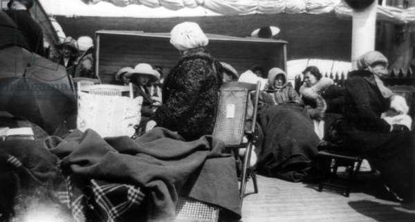 TITANIC: SURVIVORS, 1912 'Titanic' survivors aboard the 'Carpathia' after being rescued. Photographed 1912.