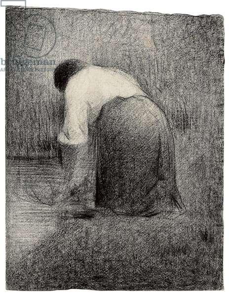 Kneeling Woman; Femme agenouillee, c.1881 (black crayon on paper)