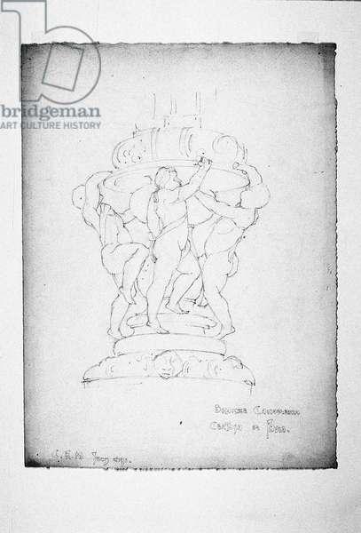 Bronze Candelabra, Certosa di Pavia, 1891 (pencil on paper)
