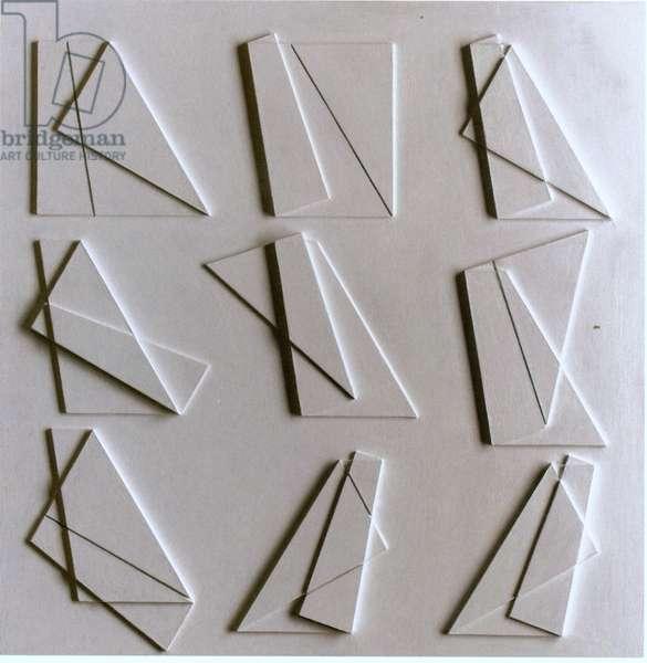 Folding nine variations, 1981 (alkyd on panel)