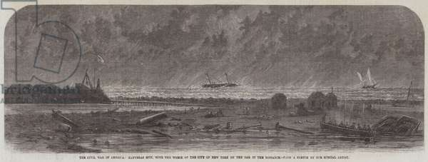 The Civil War in America, Hatteras Spit, with the Wreck of the City of New York on the Bar in the Distance (engraving)