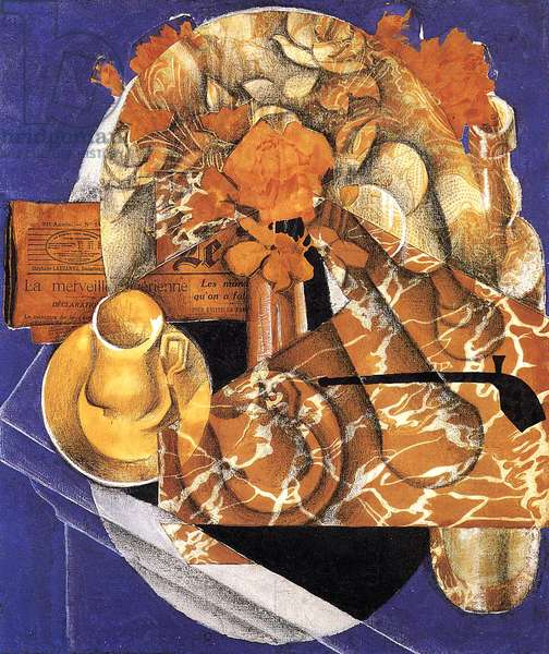 Still Life with Flowers, 1914 (oil, collage & pencil on canvas)