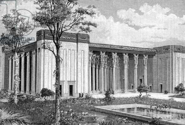 Reconstruction by French archaeologist Marcel-Auguste Dieulafoy of the palace of Artaxerxes II Mnemon, Achaemenian king of Persia 404-359 BC, at Susa (Shush, Iran) . Engraving 1891