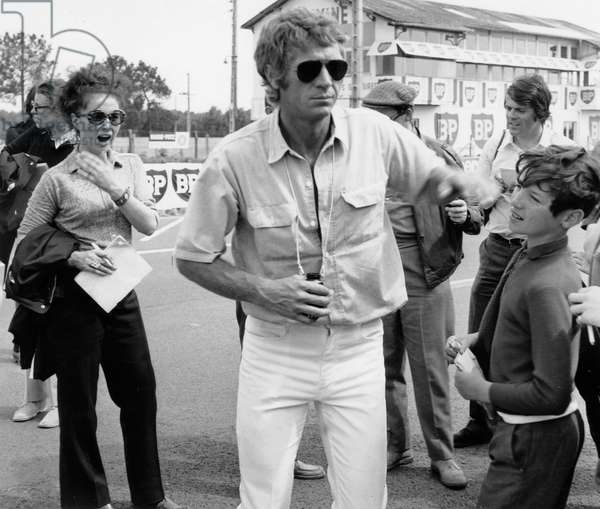American actor Steve McQueen on Le Mans Circuit (France) for his next film' Le Mans' on June 10, 1969 (b/w photo)