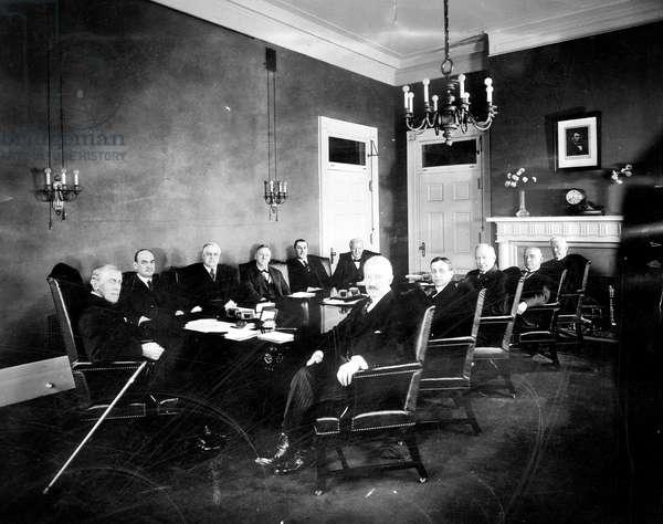 President Woodrow Wilson (left), and his cabinet (l-r): David F. Houston, A. Mitchell Palmer, Josephus Daniels, Edwin T. Meredith, William B. Wilson, Bainbridge Colby, Newton D. Baker, Albert S. Burleson, John B. Payne, Joshua W. Alexander, February 15, 1921