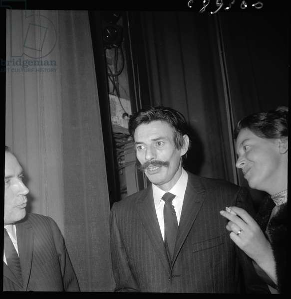Jean ferrat with Francois Mitterrand and Christine Sevres, Paris 1970