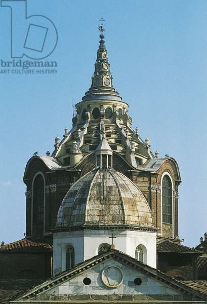 The dome of Cathedral (15th century), in foreground, and dome of Chapel of Holy Shroud (17th century) behind, Turin, Piedmont, Italy