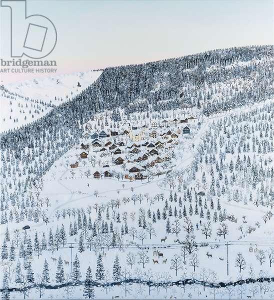 Mountain villages sunset, 2019, (oil on canvas)