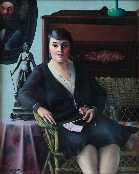 Portrait of a Woman on a Wicker Settee, 1931(oil on canvas)