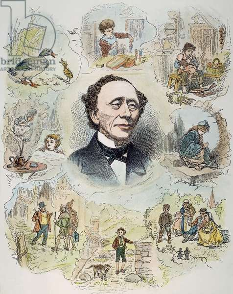 HANS CHRISTIAN ANDERSEN (1805-1875). Danish author, with his fairy tale characters. Wood engraving.