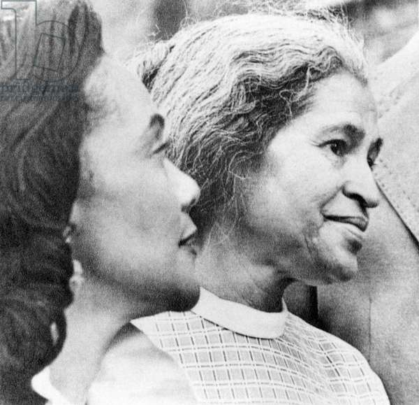 Civil rights activists Coretta King and Rosa Parks in Montgomery, Alabama, 1975.