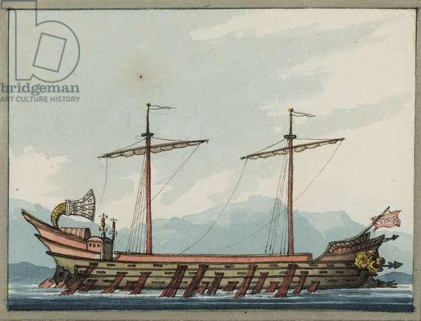A Roman trireme, 1809 (w/c)