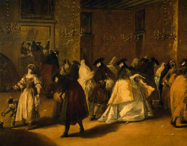 Il ridotto (Masked Venetians), 1755, by Francesco Guardi (1712-1793), oil on canvas, 108x208 cm. Italy, 18th century. Detail.
