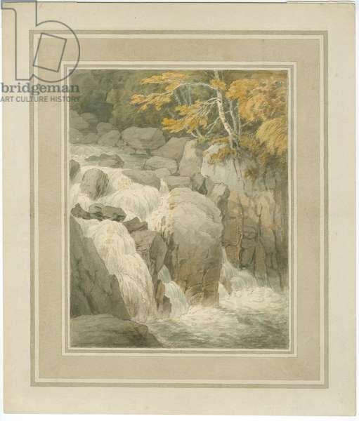 Fall of the Braan from the Hermitage at Dunkeld, 1791 (pen & ink with wash on paper)