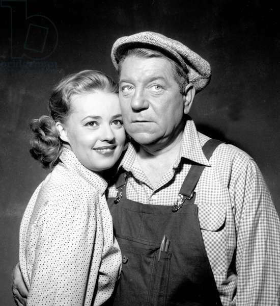 French actress Jeanne Moreau and French actor Jean Gabin on the set of GillesGrangiers' film 'Gas-Oil' in 1955 (b/w photo)