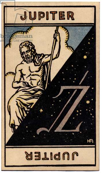Paranormal. Astrology. Jupiter(planet). Astrologic card from: Le Tarot Astrologique (Astrological Tarot), by Georges Muchery, France, 1927