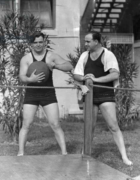 Al Capone working out at his Palm Island home, Miami Beach, c.1930 (b/w photo)