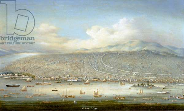 View of Canton with Shamian Island in 1865, c.1880 (oil on panel)