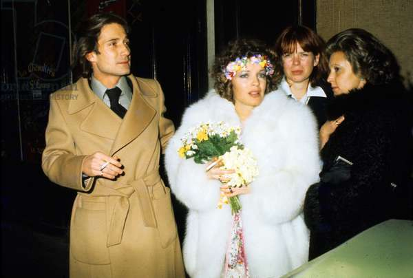 Romy Schneider and Daniel Biasini Celebrating Their Wedding in Paris December 19, 1975 (photo)
