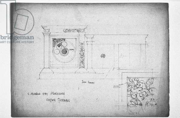 S. Maria dei Miracoli Altar Screen, 1891 (pencil on paper)