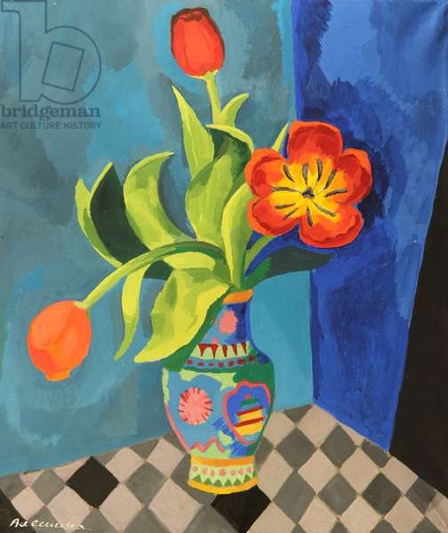 Still Life with Flowers on Blue Background, 1970s (tempera on paper)