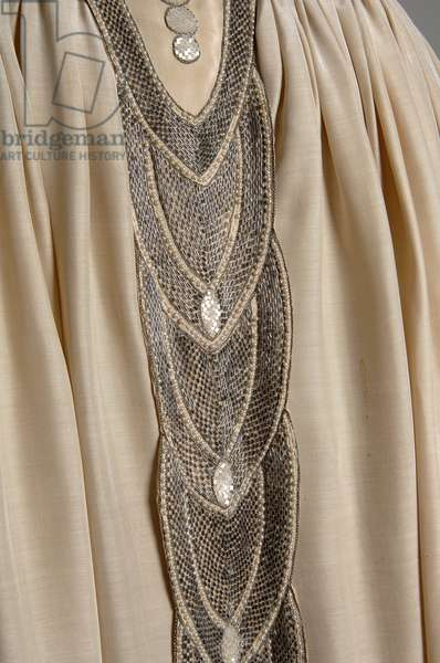 Robe de Style, 1927 (front oblique, detail view of waist), Silk moiré, glass beads, pearls, metallic thread, Jeanne Lanvin, France