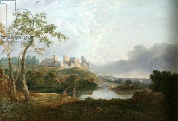 Landscape with old Castle (oil on canvas)